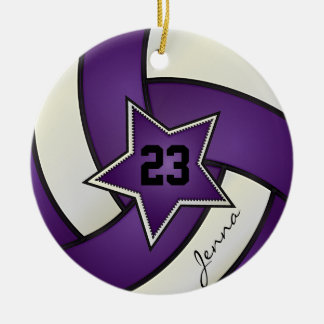 Purple and White Star Volleyball Ceramic Ornament