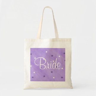 Purple and White Stars, Bride tote bags