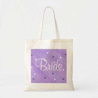 Purple and White Stars, Bride tote bags