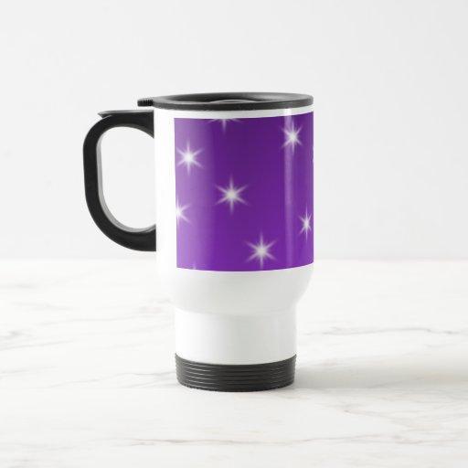 Purple and White Stars, Pattern. Coffee Mug