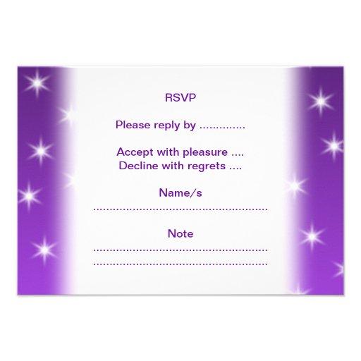 Purple and White Stars, Pattern. Custom Invite