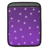 Purple and White Stars, Pattern. iPad Sleeve