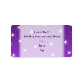 Purple and White Stars, Pattern. Custom Address Label