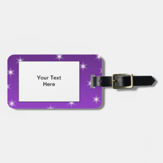 Purple and White Stars, Pattern. Luggage Tag