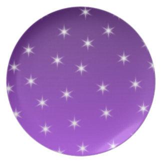 Purple and White Stars, Pattern. Melamine Plate