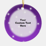 Purple and White Stars, Pattern. Christmas Tree Ornaments
