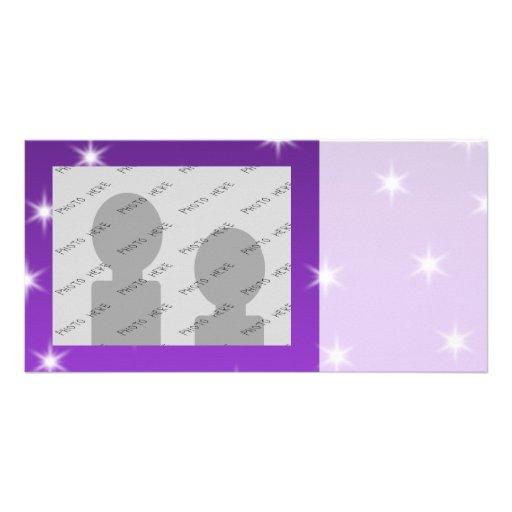 Purple and White Stars, Pattern. Photo Card