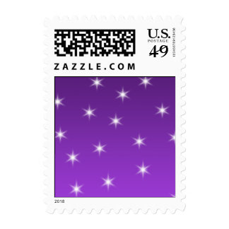 Purple and White Stars, Pattern. Postage Stamps
