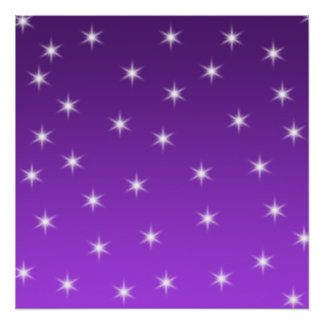 Purple and White Stars, Pattern. Poster