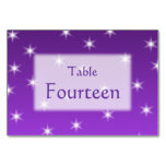 Purple and White Stars, Pattern. Table Cards