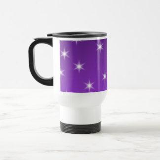 Purple and White Stars, Pattern. Travel Mug