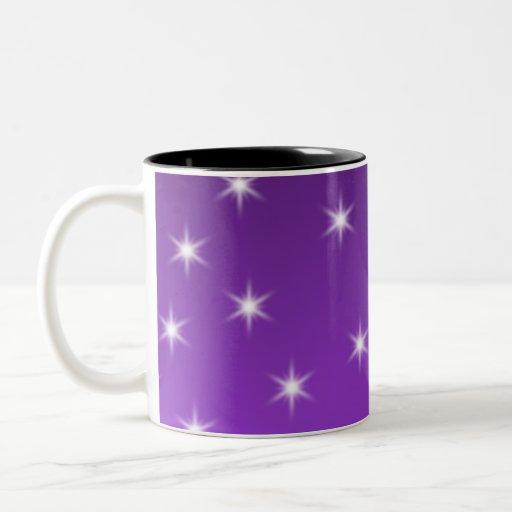 Purple and White Stars, Pattern. Two-Tone Coffee Mug
