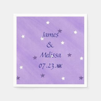 Purple and White Stars Personalized Napkins Disposable Napkins