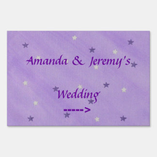 Purple and White Stars Personalized Yard Sign
