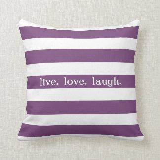 Purple and White Stripe Custom Sentiment V09 Throw Pillow