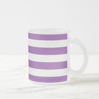 Purple and White Stripe Pattern Frosted Glass Coffee Mug