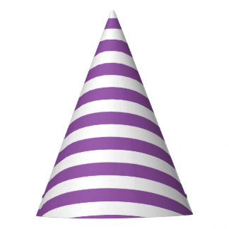 Purple and White Stripe Pattern Party Hat