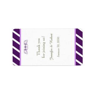 Purple and White Stripe Wedding Lip Balm Label