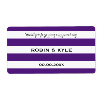 Purple and white stripe wedding water bottle label