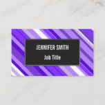 [ Thumbnail: Purple and White Striped Pattern Business Card ]