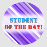 [ Thumbnail: Purple and White Striped Pattern Round Sticker ]