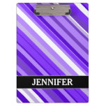 [ Thumbnail: Purple and White Striped Pattern + Custom Name Clipboard ]
