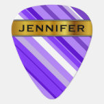 [ Thumbnail: Purple and White Striped Pattern & Custom Name Guitar Pick ]