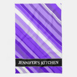 [ Thumbnail: Purple and White Striped Pattern + Custom Name Kitchen Towel ]