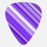 [ Thumbnail: Purple and White Striped Pattern Guitar Pick ]