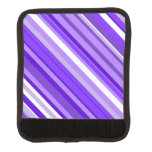[ Thumbnail: Purple and White Striped Pattern Luggage Handle Wrap ]