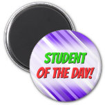 [ Thumbnail: Purple and White Striped Pattern Magnet ]