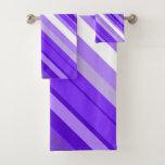 [ Thumbnail: Purple and White Striped Pattern Towel Set ]