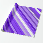 [ Thumbnail: Purple and White Striped Pattern Wrapping Paper ]