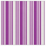 [ Thumbnail: Purple and White Stripes/Lines Pattern Fabric ]