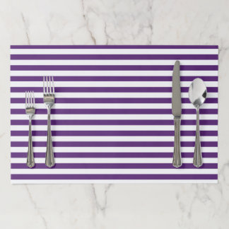 Purple and White Stripes Paper Placemat
