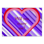 "[ Thumbnail: Purple and White Stripes + ""Will You Marry Me?"" Card ]"