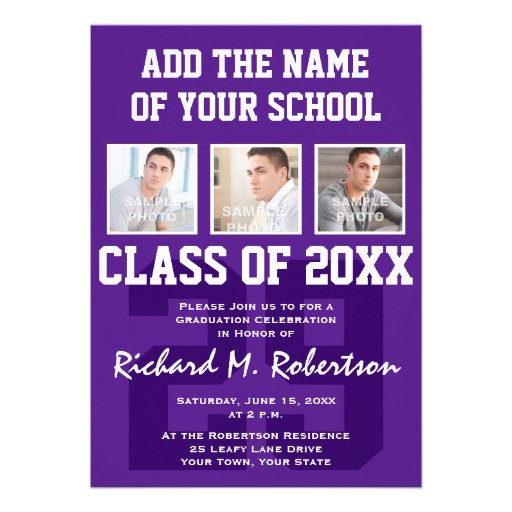 Purple and White Student Athlete Graduation Party Personalized Invite