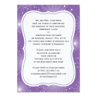 Purple and White Sunbursts Reception Only Card