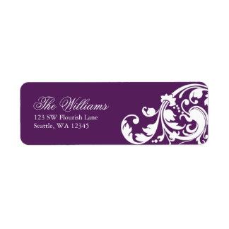 Purple and White Swirl Flourish Return Address Label