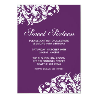 Purple and White Swirl Flourish Sweet 16 Birthday Card