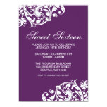 Purple and White Swirl Flourish Sweet 16 Birthday Custom Invitation