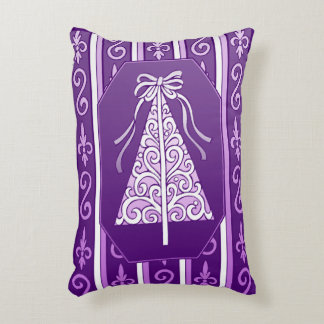 Purple And White Swirls Stripes Christmas Tree Accent Pillow