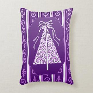 Purple And White Swirls Stripes Christmas Tree Decorative Pillow