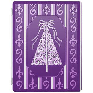 Purple And White Swirls Stripes Christmas Tree iPad Cover