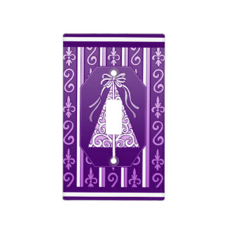 Purple And White Swirls Stripes Christmas Tree Light Switch Cover