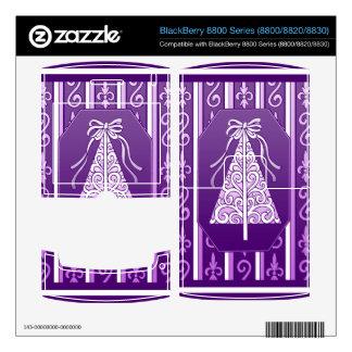 Purple And White Swirls Stripes Christmas Tree BlackBerry 8800 Skin