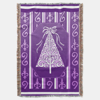 Purple And White Swirls Stripes Christmas Tree Throw Blanket