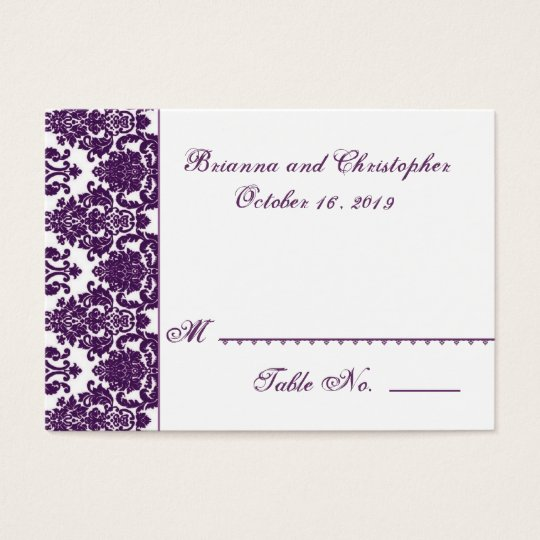 Purple and White Table Place Card - Wedding Party