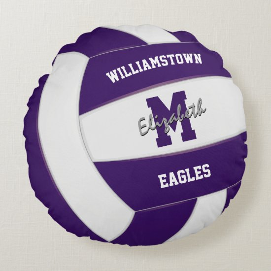 purple and white team colors realistic volleyball round pillow