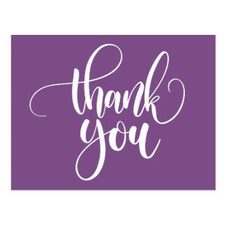 Purple and White Thank You  - Wedding Party Postcard